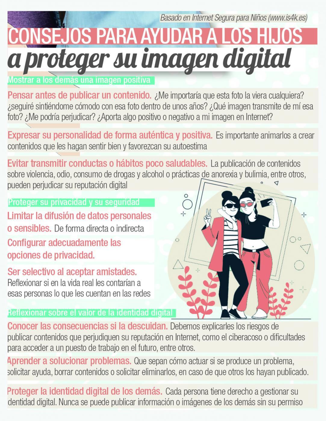Consejos para ayudar a los hijos a proteger su imagen digital.