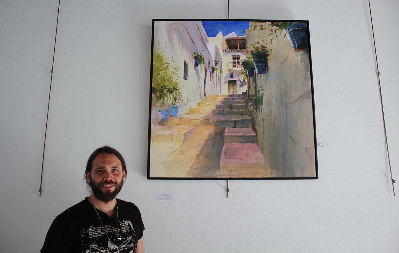 Javier Martín se llevó uno de los segundos premios con su lienzo de la calle San Sebastián